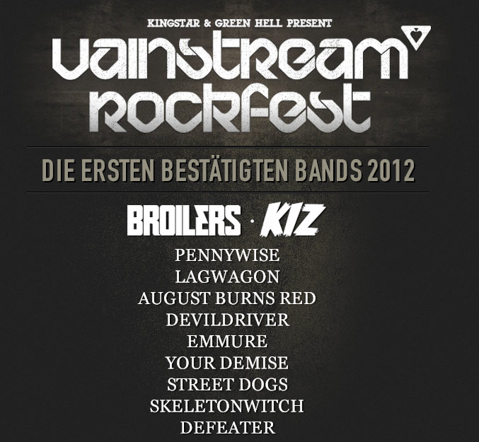 VAINSTREAM Rockfest 2012 – Erste Bestätigungen