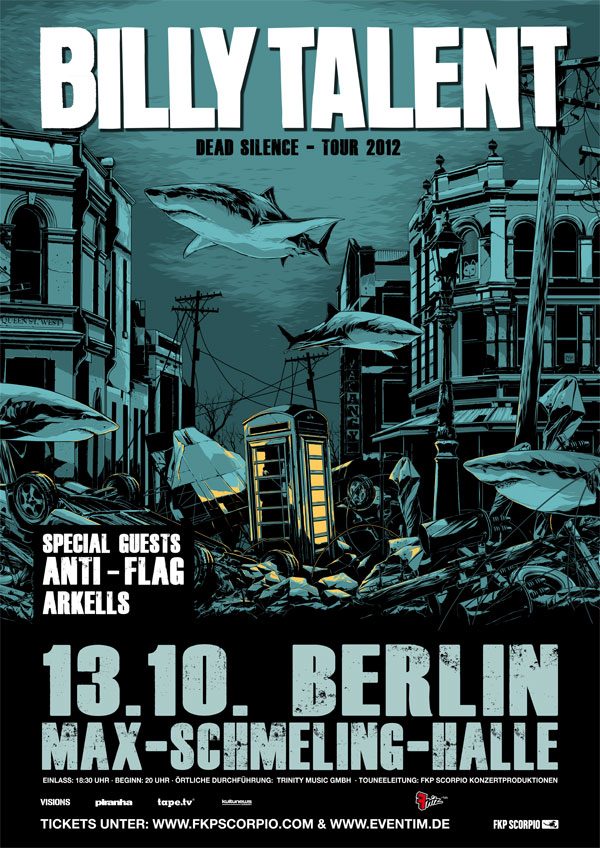 BILLY TALENT, THE ARKELLS, ANTI-FLAG, 13.10.2012, Max-Schmeling-Halle, Berlin