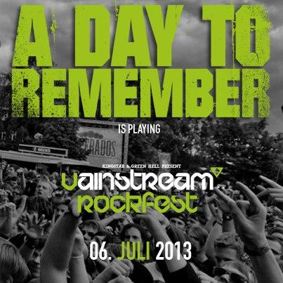 A DAY TO REMEMBER spielen auf dem Vainstream 2013