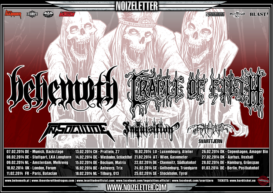 BEHEMOTH und CRADLE OF FILTH: Gewinnspiel zur Dunkelheit auf Co-Headliner-Tour!