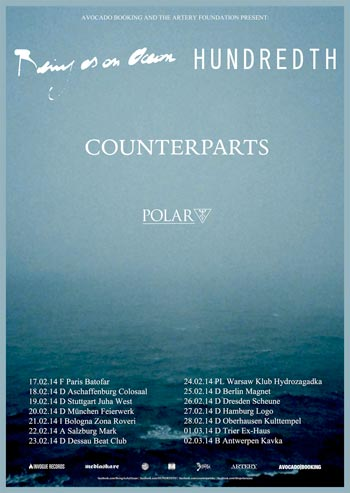BEING AS AN OCEAN, HUNDREDTH, COUNTERPARTS, POLAR, Hamburg, Logo, 27.02.14