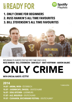 ONLY CRIME – Tourstart und Playlisten