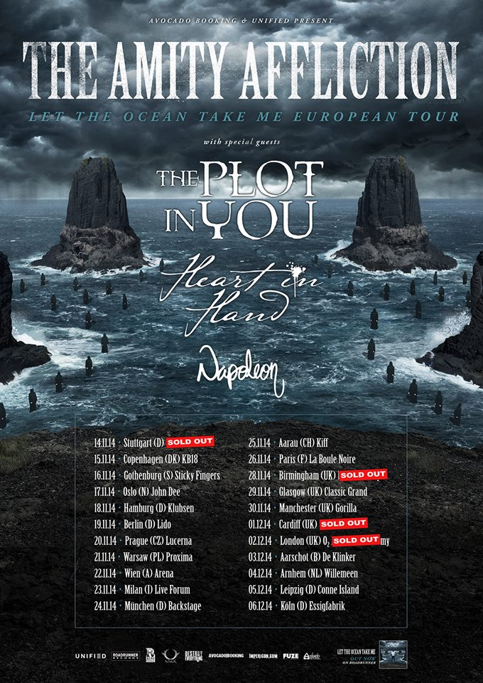 THE AMITY AFFLICTION: Verlosung für den Gig in Hamburg am 18.11.2014