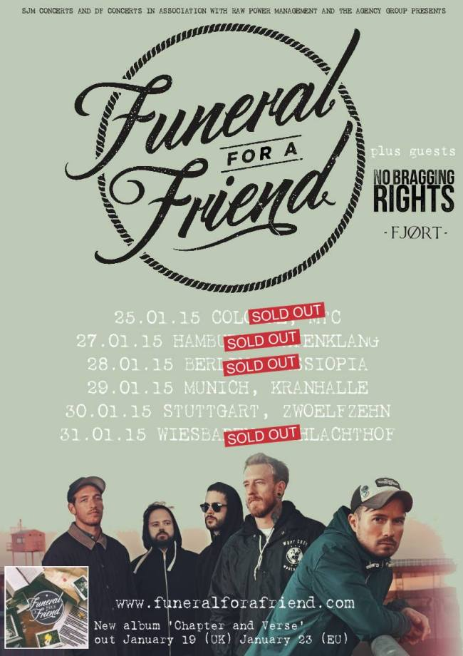 FUNERAL FOR A FRIEND, NO BRAGGING RIGHTS, FJØRT, Hamburg, Hafenklang, 27.01.15