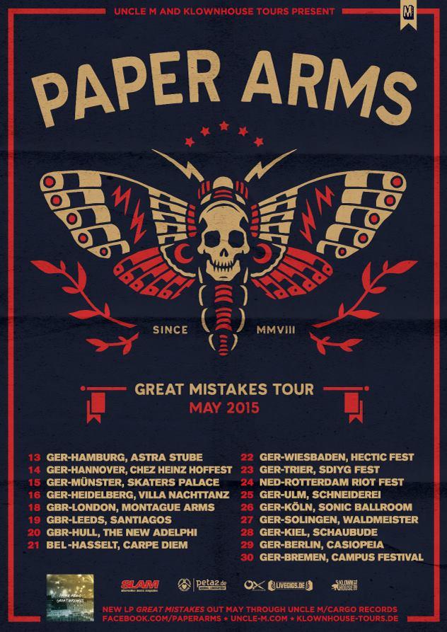 PAPER ARMS – Songpremiere & Tourdates 2015