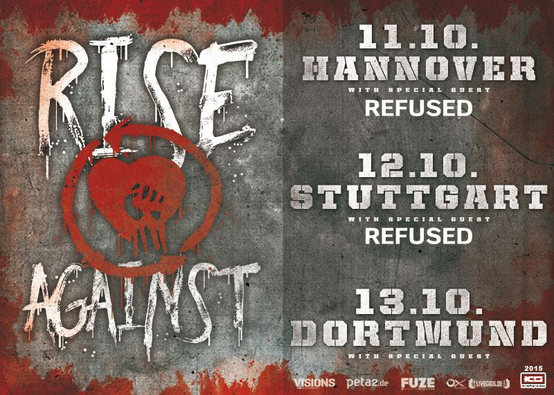 RISE AGAINST/ REFUSED/ GREAT COLLAPSE, Swiss-Life-Hall Hannover, 11.10.2015