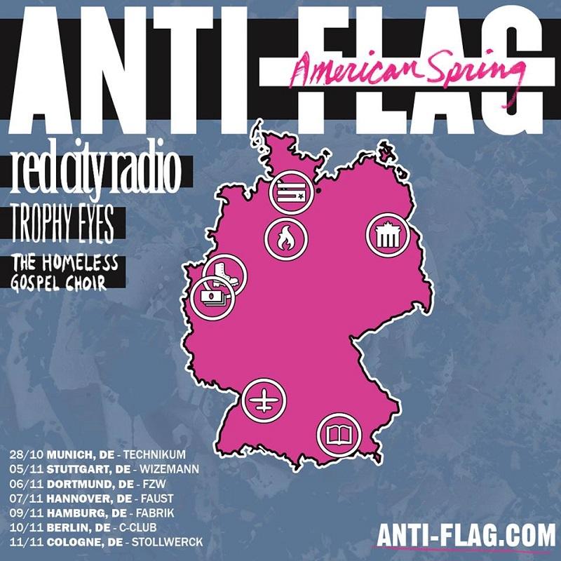 ANTI-FLAG, RED CITY RADIO, TROPHY EYES, HOMELESS GOSPEL CHOIR, Faust Hannover, 07.11.2015